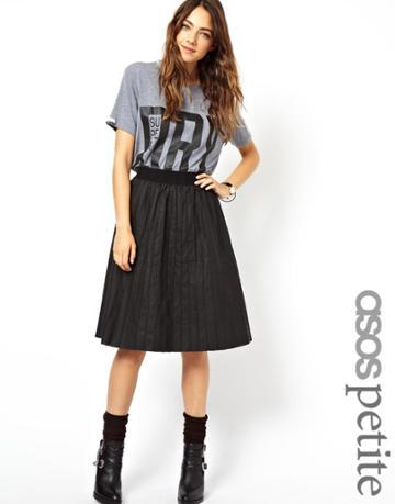 Asos Petite Exclusive Leather Look Pintuck Pleated Midi Skirt
