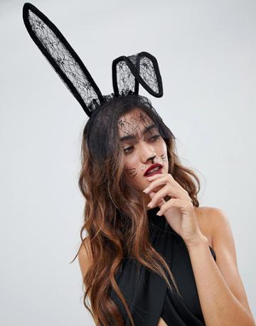 Asos Design Halloween Headband With Polka Dot Bunny Ears And Veil - Black