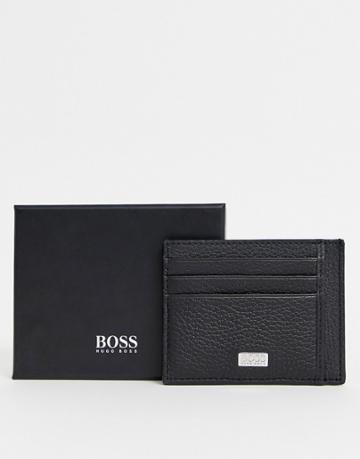 Boss Logo Leather Card Holder In Black