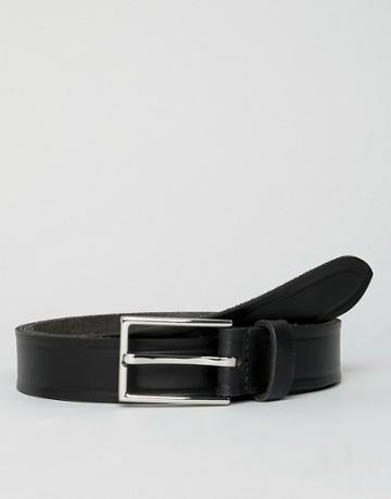 Esprit Slim Leather Smart Belt In Black - Black