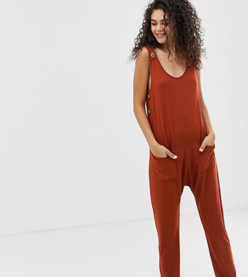 Asos Design Tall Minimal Jumpsuit With Pockets And Side Button Detail - Black
