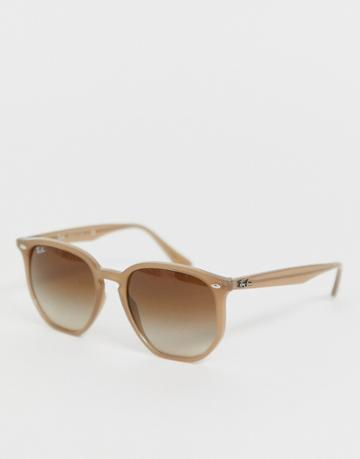 Ray-ban 0rb4306 Hexagonal Sunglasses In Taupe - Beige