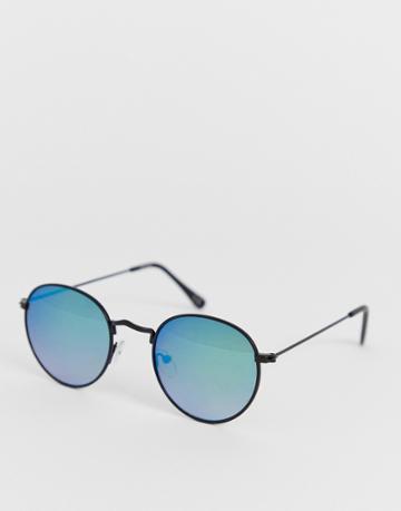 Asos Design Metal Round Sunglasses In Black With Green Mirror Lens - Black