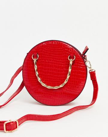 Asos Design Croc Circle Cross Body Bag With Chain Strap-red