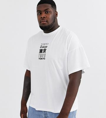 Asos Design Plus Oversized T-shirt With Multiple City Text Print