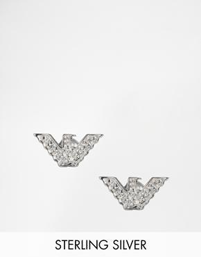 Emporio Armani Eagle Stud Earrings With Crystals - Silver