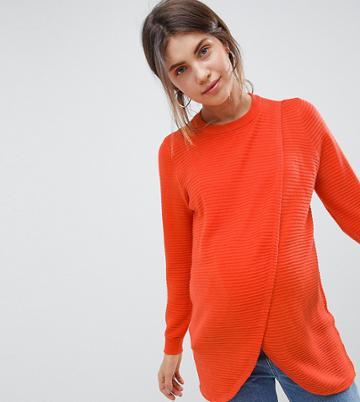 Asos Design Maternity Nursing Eco Wrap Sweater In Ripple Stitch - Red