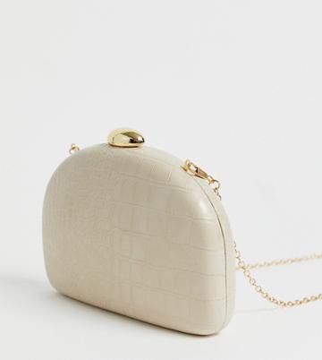 True Decadence Cream Mock Croc Half Moon Clutch Bag - Pink