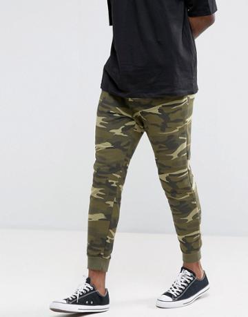 Pull & Bear Skinny Joggers In Khaki Camo - Green