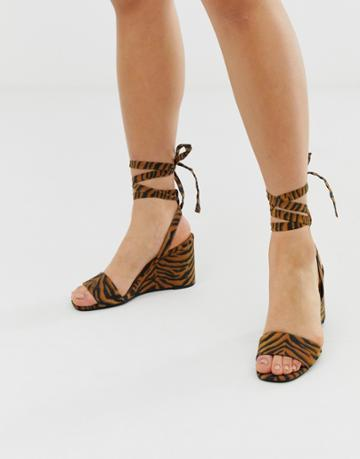 Asos Design Hammock Barely There Tie Leg Wedges In Tiger - Multi