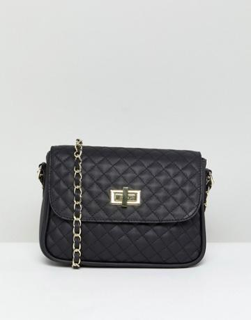 Asos Leather Quilted Lock Cross Body - Black