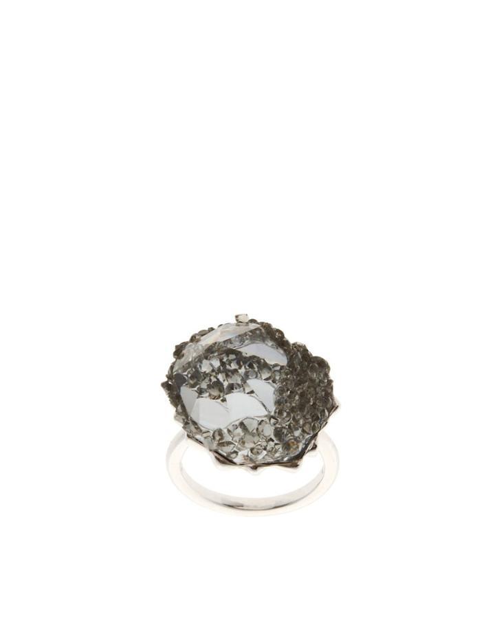 Swarovski Crystal Poison Cocktail Ring - Silver