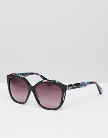 Christian La Croix Square Sunglasses In Black - Black