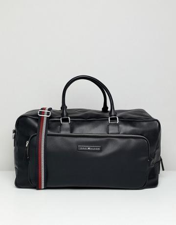 Tommy Hilfiger Corporate Mix Faux Leather Weekender Bag In Black - Black