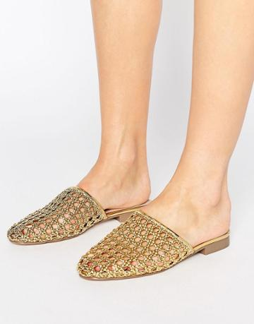Asos Marbles Woven Mules - Gold