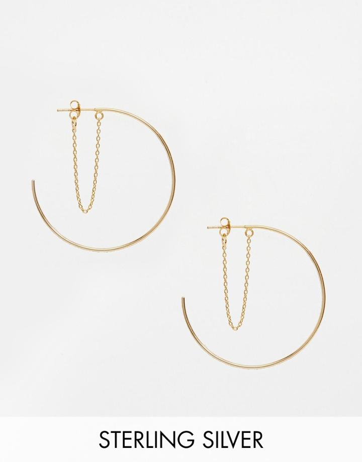 Asos Gold Plated Sterling Silver 40mm Chain Hoop Earrings - Gold