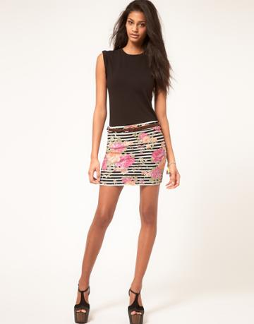Paprika Jersey Body-conscious Mini Skirt In Floral Stripe