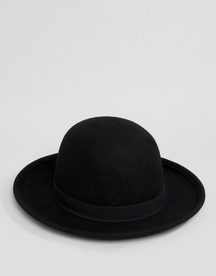 Asos Fedora Hat With Unstructured Crown - Black