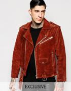 Reclaimed Vintage Suede Biker Jacket - Rust