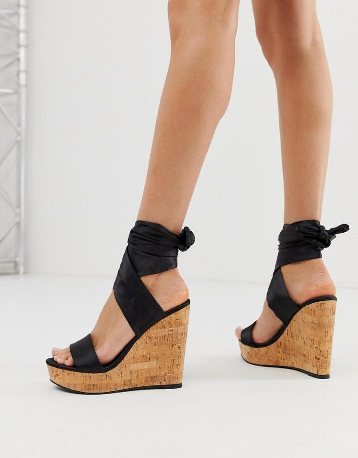 Asos Design Twist Tie Leg Cork Wedges-black