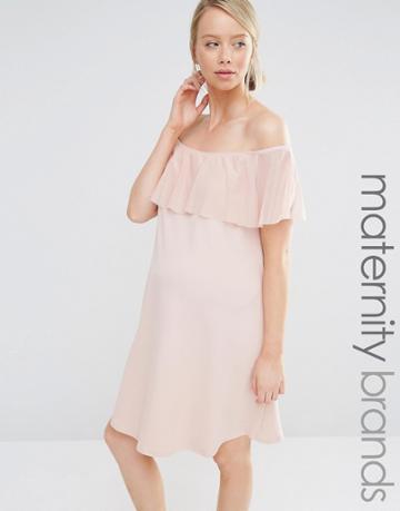 Bluebelle Maternity Bardot Frill Bodycon Dress - Pink