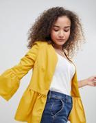 Parisian Peplum Hem Jacket - Yellow