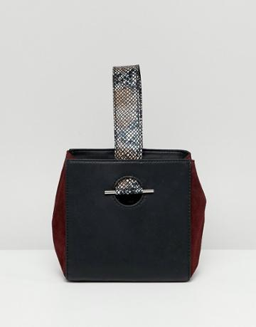Asos Design Leather Mix Boxy Grab Clutch Bag With Snake Detail - Multi