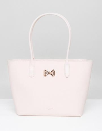 Ted Baker Curved Bow Small Zip Shopper Bag - Pink