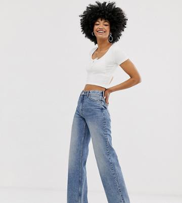 Monki Organic Cotton Wide Leg Yoko Jeans In Blue - Blue