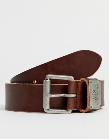 Armani Exchange Leather Logo Keeper Belt In Brown - Brown
