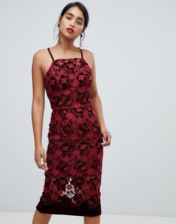 Chi Chi London Velvet Lace Cami Pencil Midi Dress In Wine - Red