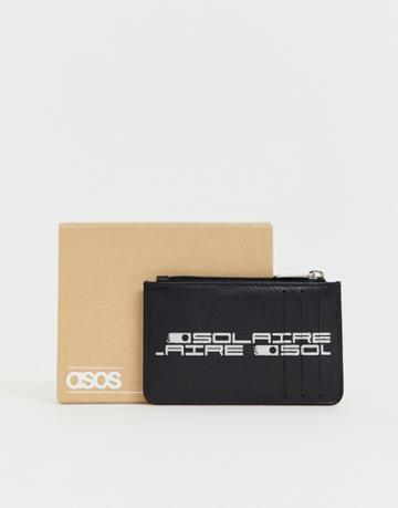 Asos Design Leather Cardholder With Zip And Slogan Detail - Black