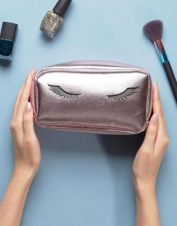 New Look Eyelash Metallic Makeup Bag - Pink