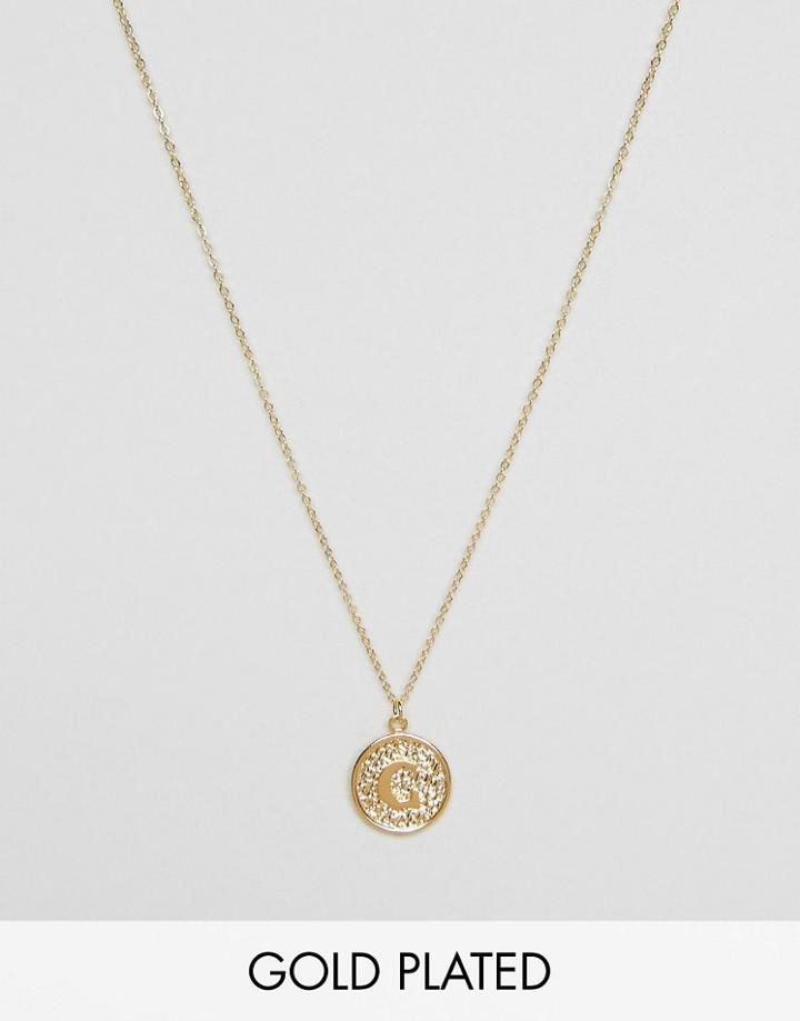 Ottoman Hands C Initial Pendant Necklace - Gold
