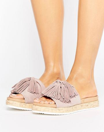 Call It Spring Pucallpa Blush Sliders With Suede Tassels - Pink