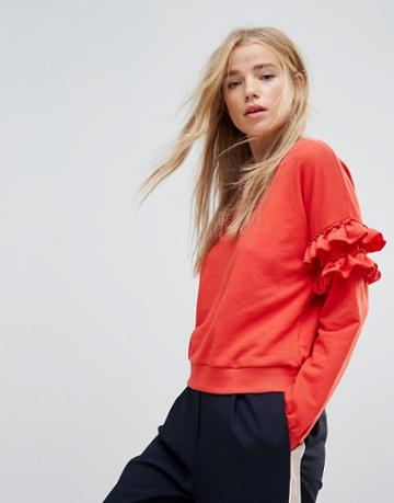 New Look Frill Sleeve Sweat - Red