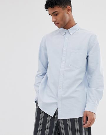 Weekday Henning Oxford Shirt In Blue - Blue