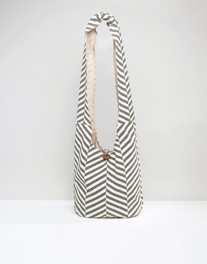 South Beach Chevron Slouch Beach Bag - Gray