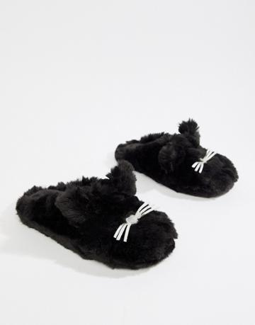Boux Avenue Cozy Cat Mule Slipper - Black