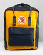 Fjallraven Kanken Backpack In Navy With Yellow Contrast 16l - Navy