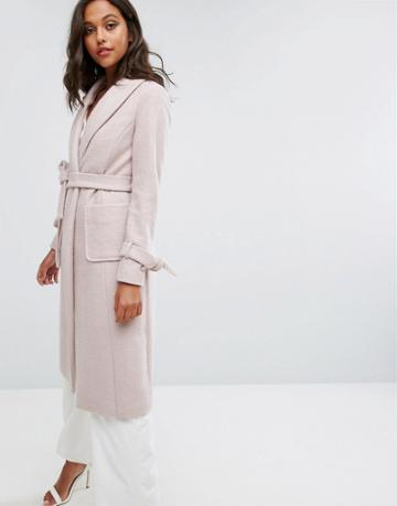 Lipsy Long Wool Coat - Pink