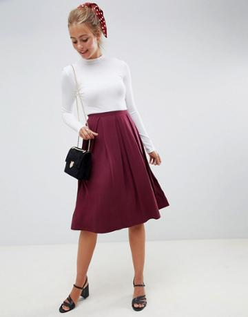 Asos Design Midi Skirt With Box Pleats - Red