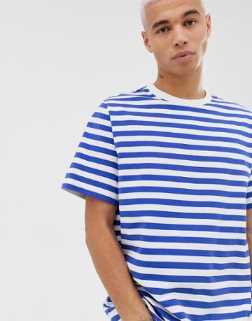 Weekday Stripe T-shirt In White/blue - White