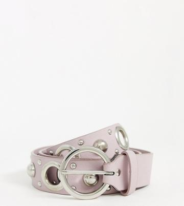 Asos Design Curve Multi Eyelet And Stud Jeans Belt In Lilac-purple