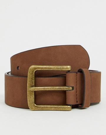 Asos Design Wide Belt In Brown Faux Leather With Vintage Gold Buckle - Brown