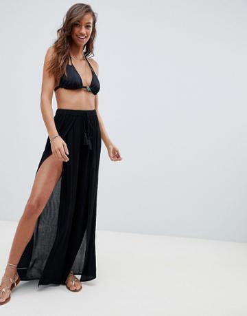 Asos Design Split Front Beach Pants - Black