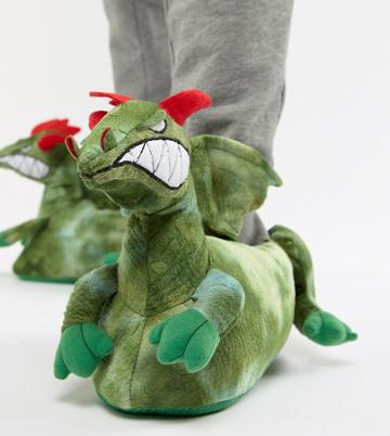 Asos Design Dragon Slippers In Green - Green