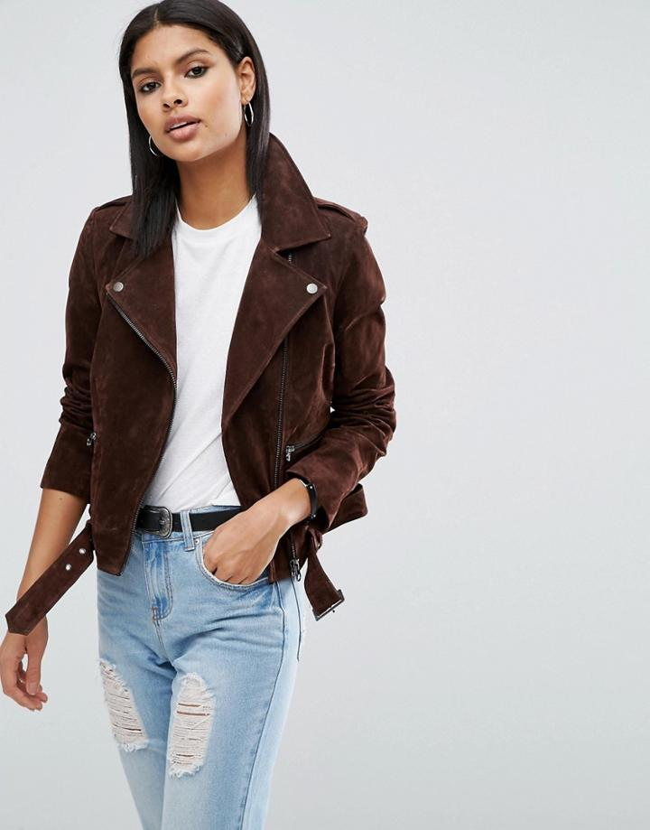 Asos Suede Biker Jacket - Brown