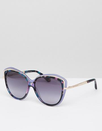 Christian La Croix Cat Eye Sunglasses In Blue - Blue