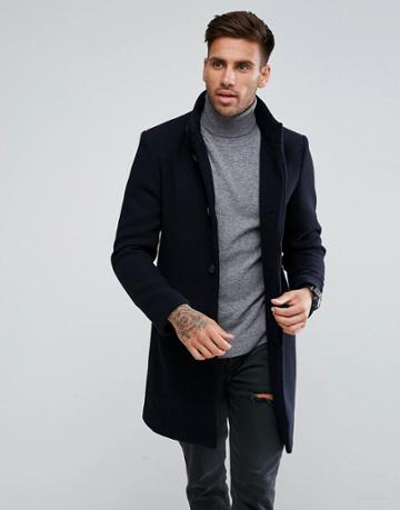 Pull & Bear Smart Over Coat In Navy - Navy